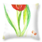 Red Tulip -of Amsterdam   Throw Pillow