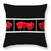 Red Tulip Triptych Throw Pillow