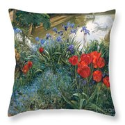 Red Tulips And Geese  Throw Pillow