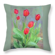 Red Tulips Colorful Painting Of Flowers By K. Joann Russell Throw Pillow