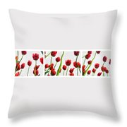 Red Tulips From The Bottom Up Triptych Throw Pillow