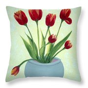 Red Tulips In A Pot Throw Pillow