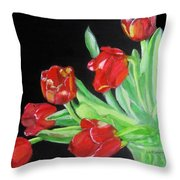 Red Tulips In Vase Throw Pillow