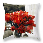 Red Tulips In Window Throw Pillow