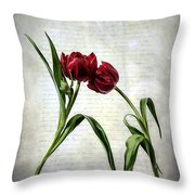 Red Tulips On A Letter Throw Pillow