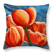 Red Tulips On Blue Throw Pillow