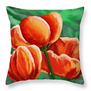 Red Tulips On Green Throw Pillow