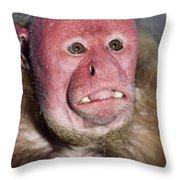 Red Uakari Throw Pillow