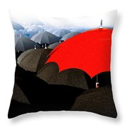 Red Umbrella In The City Throw Pillow