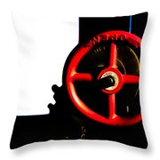 Red Valve  Throw Pillow by Bob Orsillo