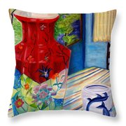 Red Vase And Cup Throw Pillow