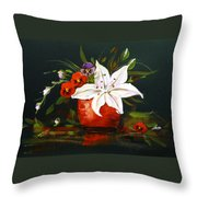 Red Vase With Lily And Pansies Throw Pillow