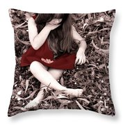 Red Velvet Dress Throw Pillow
