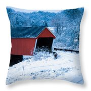 Red Vermont Covered Bridge Throw Pillow