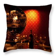 Red Wall And Dinner Table Throw Pillow