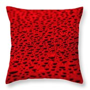 Red Water Drops On Water-repellent Surface Throw Pillow