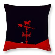 Red Weather Vane With Snow On The Roof Throw Pillow