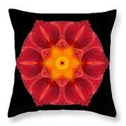Red Wet Lily Flower Mandala Throw Pillow