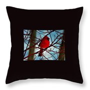 Red White And Blue Cardinal Throw Pillow