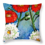 Red White And Blue Flowers Throw Pillow