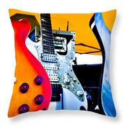 Red White And Blue Guitars Throw Pillow