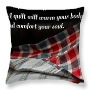 Red White And Blue Quilt With Quote Throw Pillow