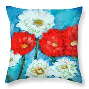 Red White And Blue Zinnia Flowers Throw Pillow