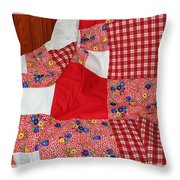 Red White And Gingham With Flowery Blocks Patchwork Quilt Throw Pillow