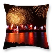 Red  White Boom Throw Pillow