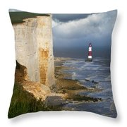 White Cliffs And Red-white Striped Lightouse In The Sea Throw Pillow