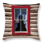 Red Window Log Cabin - Idaho Throw Pillow