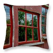 Red Windows Paned Throw Pillow
