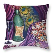 Red Wine And Peacock Feathers Throw Pillow