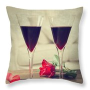 Red Wine And Roses Throw Pillow