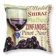 Red Wine Text Throw Pillow by Debbie DeWitt