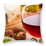 Red Wine With Cheese Throw Pillow by Amanda Elwell
