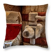 Red Wine With Tapped Keg Throw Pillow