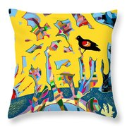Redwing Blackbird Sunrise Throw Pillow