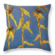 Red Wing Blackbirds In The Corn Throw Pillow