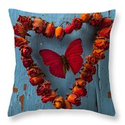 Red Wing Butterfly In Heart Throw Pillow by Garry Gay
