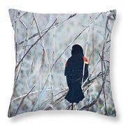 Red Wing Perched Throw Pillow