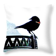 Red Wing Posed Throw Pillow