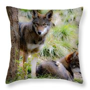 Red Wolves Throw Pillow