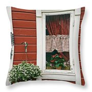 Red Wooden House With Plants In And By Throw Pillow