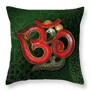 Red Wooden Om Green Mandala Throw Pillow