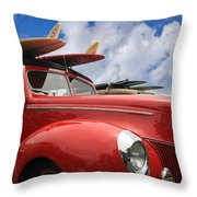 Red Woodie Throw Pillow by Julianne Bradford