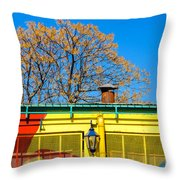 Red Yellow And Blue Building Throw Pillow