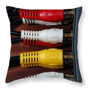 Red Yellow And White Cables Throw Pillow