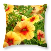 Red Yellow Morning Glories Throw Pillow