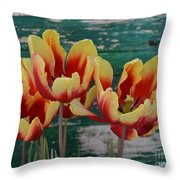 Red Yellow Tulips Throw Pillow